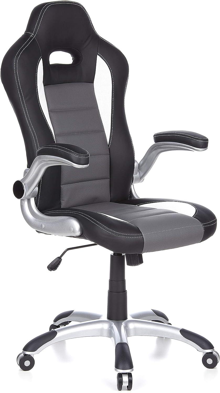 hjh OFFICE 621710 silla gaming RACER SPORT piel sintética negro / gris reposabrazos plegables silla de escritorio inclinable