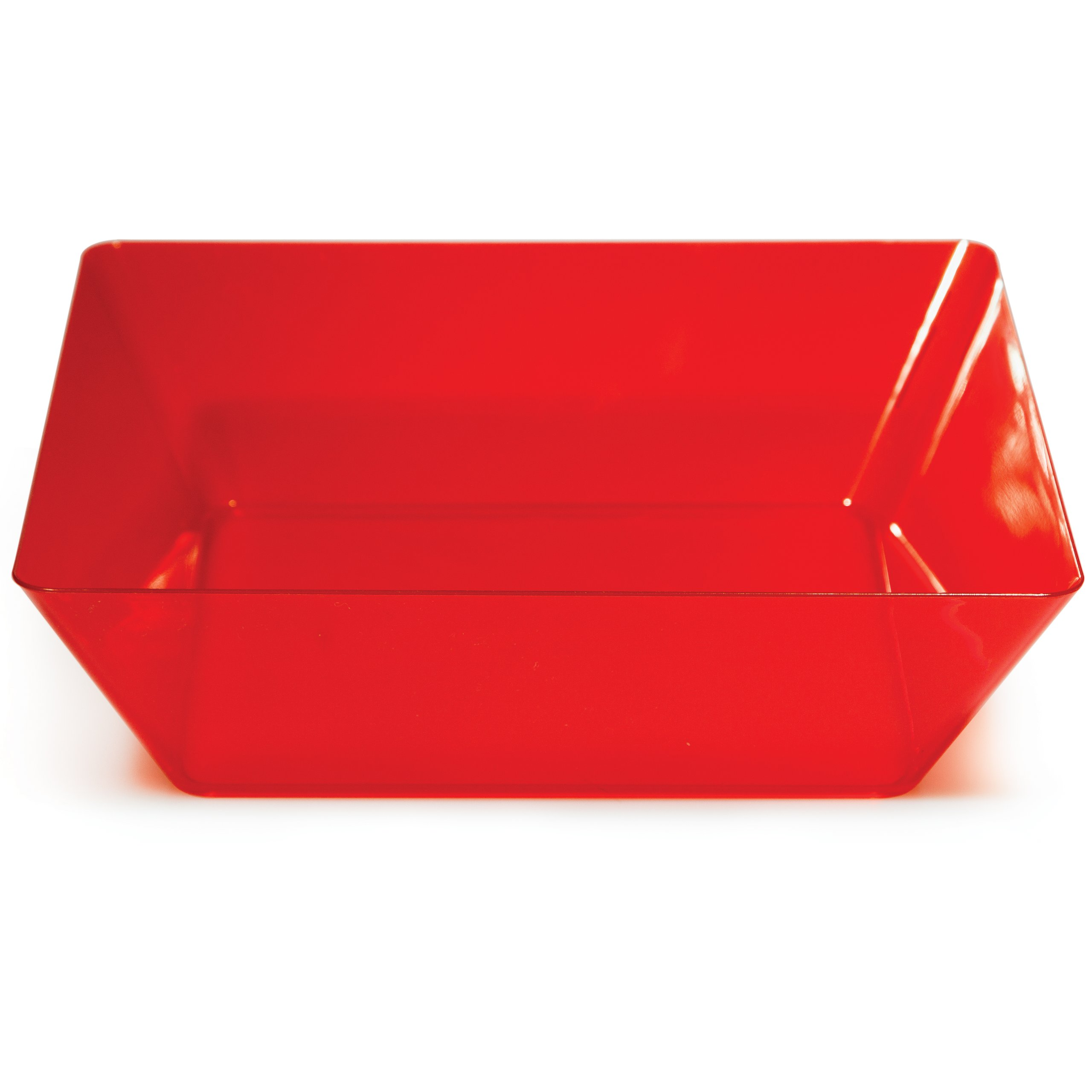 Creative Converting Square Plastic Serving Bowl, 11-Inch, Translucent Red - 053419
