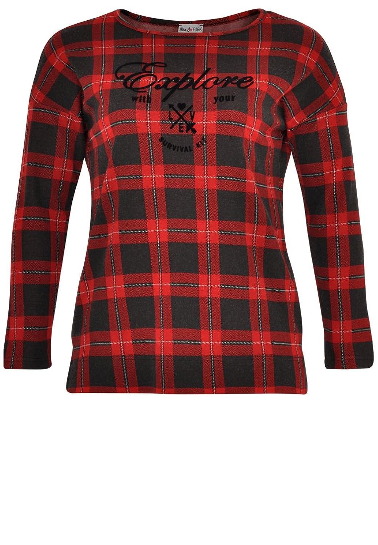 Yoek Damen T-shirt mit Druck kariert Plus Size
