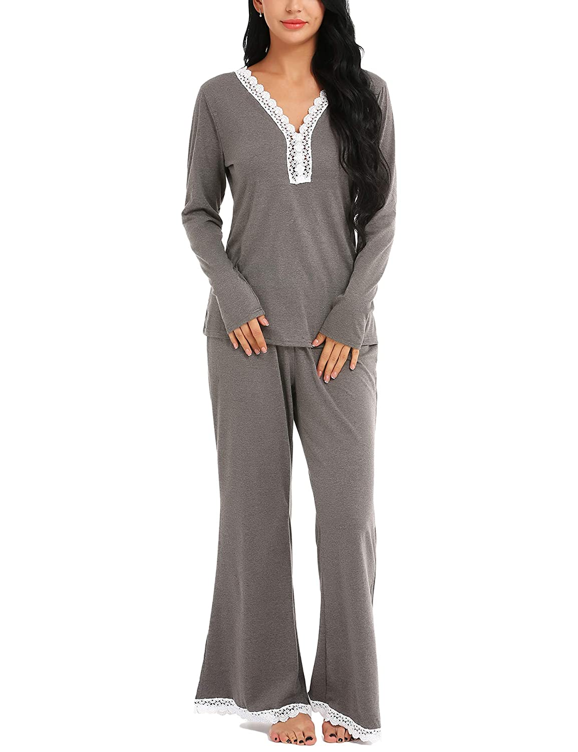 ARANEE Pajamas Women s Long Sleeve Sleepwear Soft Pj Set at Amazon Women s  Clothing store  0141af06a
