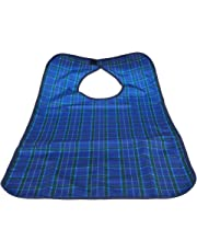 MagiDeal Blue Waterproof Reusable Washable Mealtime Clothing Protector Bib with Backing for Adults Elders