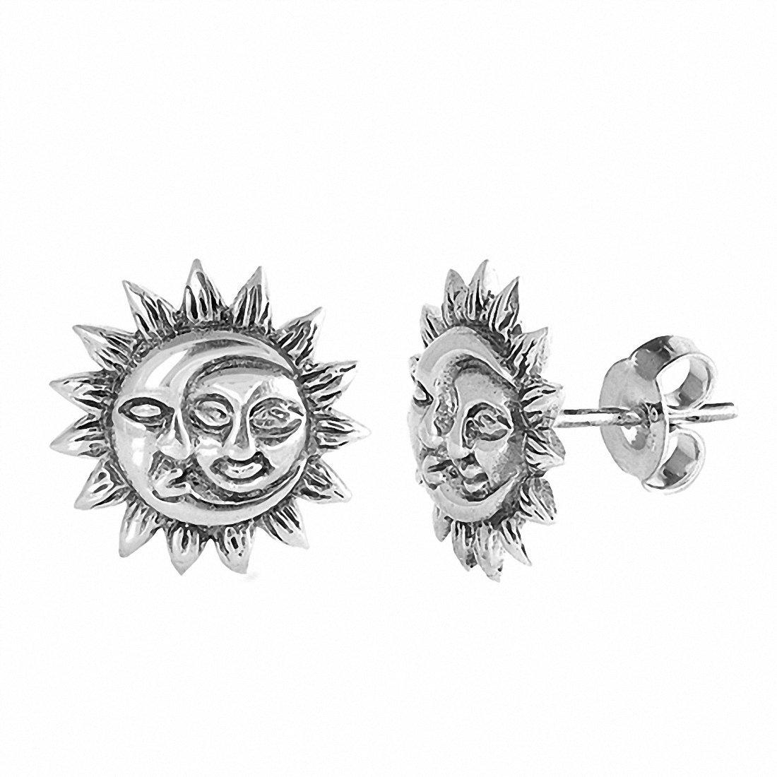 Sun Moon Stud Earrings 925 Sterling Silver