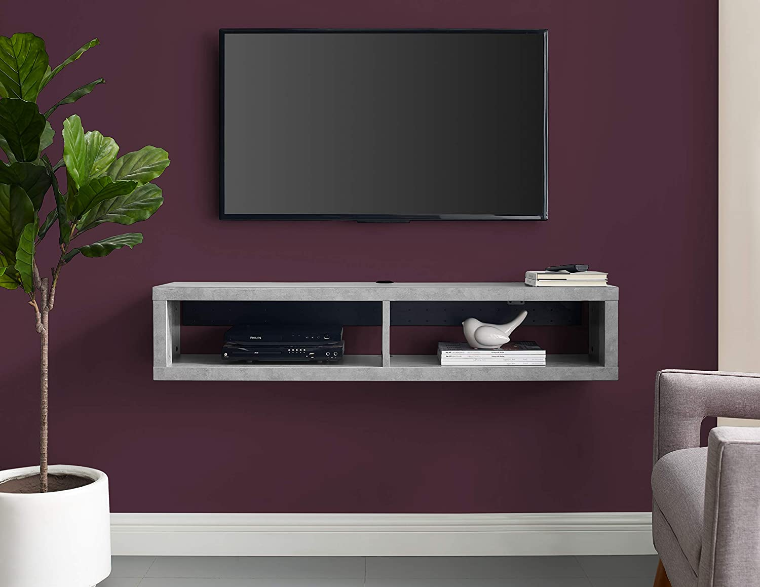"""Martin Furniture Floating TV Console, 48"""",Stone Gray"""