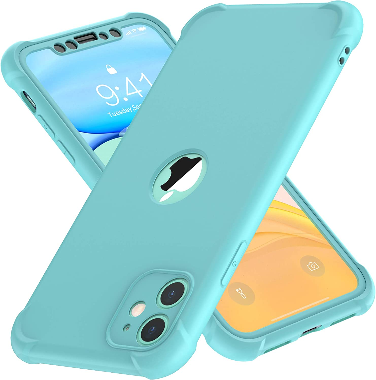 ORETECH Funda iPhone 11, Carcasa iPhone 11 con [ 2 x Protector de Pantalla de Vidrio Cristal Templado] 360° Carcasa Silicona Ligera Delgado PC+TPU Bumper Rubber Caso para iPhone 11 Case 6.1''- Verde