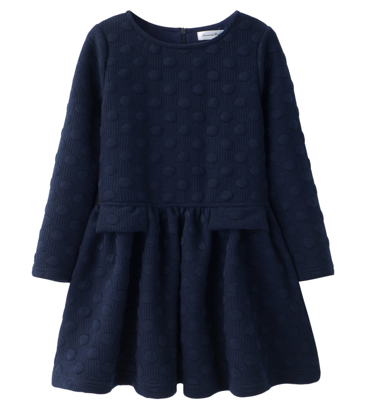 AuroraBaby Little Big Girls Casual Thick Warm Dresses Long Sleeve Blue Cotton Lining Dress For 10-11 Years