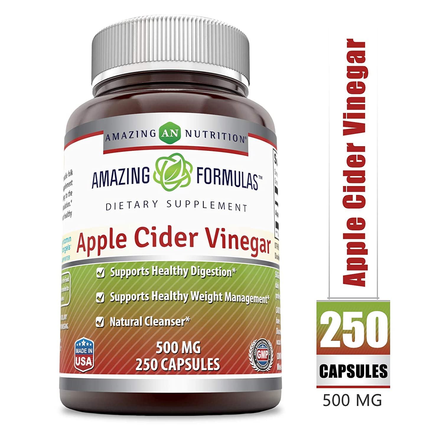 Amazing Formulas Apple Cider Vinegar - 500 Mg, Capsules (Non-GMO) - Supports Healthy Weight Management - Supports Digestive Functions - Natural Cleanser. (250 Count)
