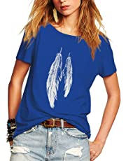 Weigou Summer Woman T Shirt Street Style Feathers Printed Short Sleeve T-Shirt Casual Loose Lady Tops Juniors Tees