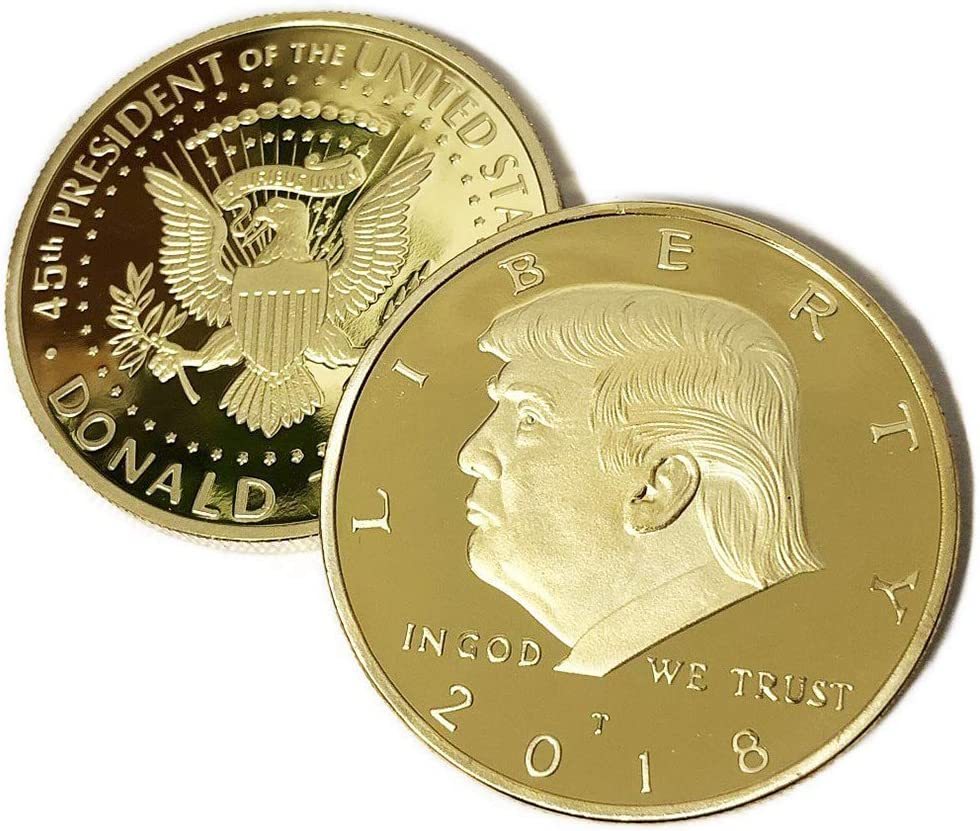 2 Pack The Official 2018 Gold Donald Trump Commemorative Coin - Authentic 24k Gold Collectible Coin - Republican Collectibles Challenge Memorabilia Gift