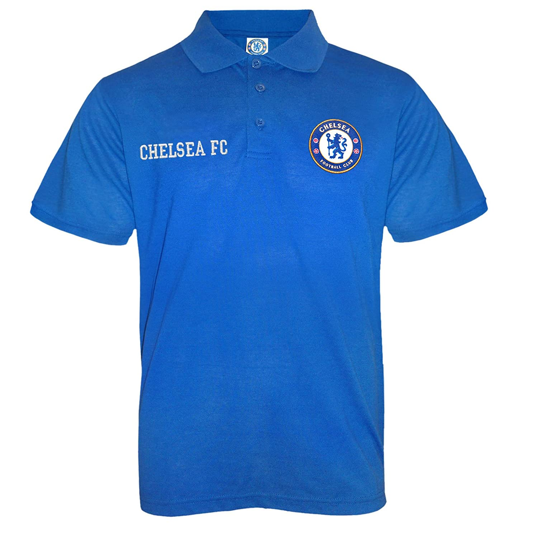 Chelsea FC Official Football Gift Boys Crest Polo Shirt Navy