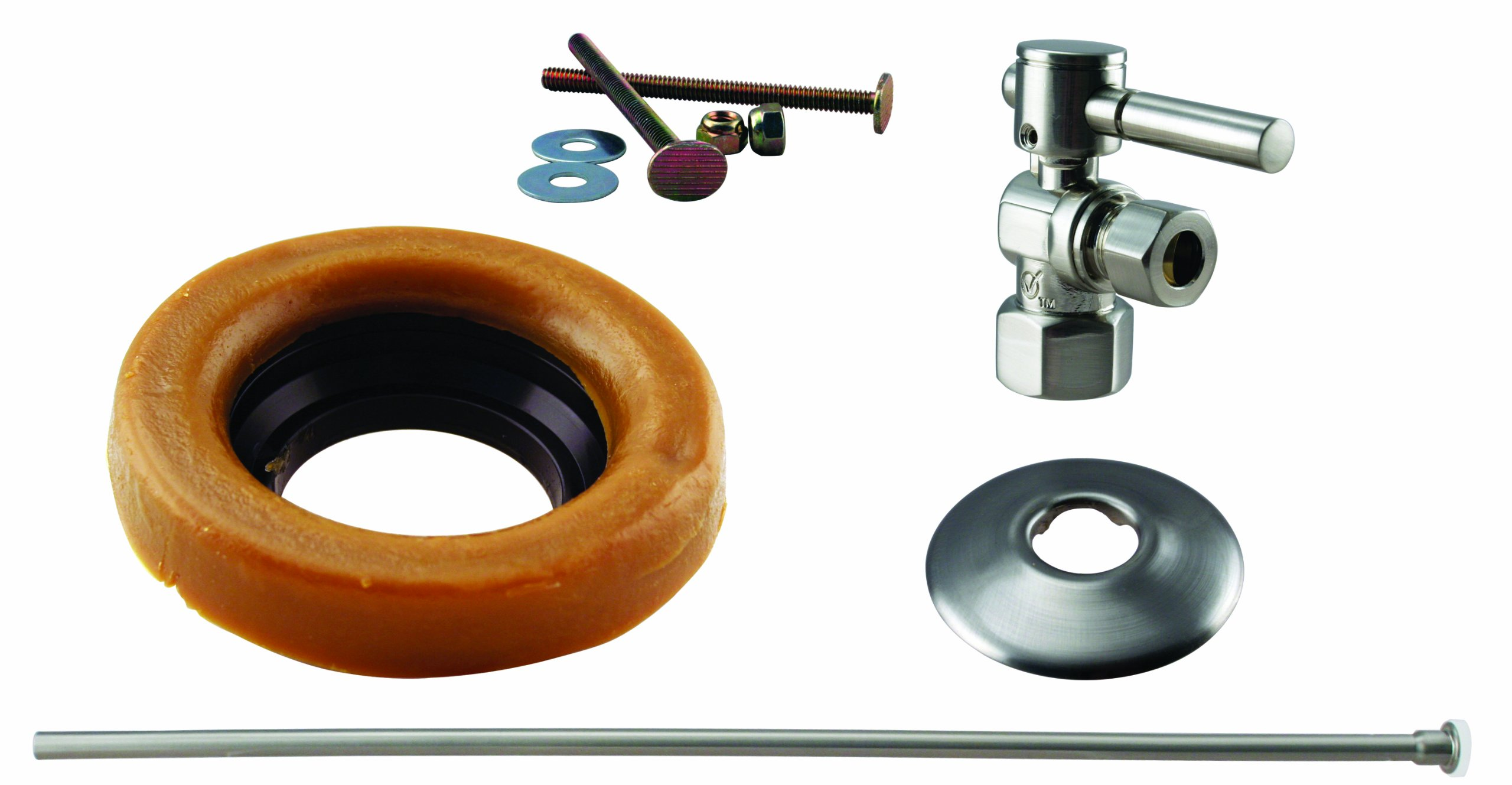 Westbrass Toilet Installation Kit with 1/4-Turn 1/2'' IPS Stop and Wax Ring with Lever Handle, Satin Nickel, D1615TBL-07