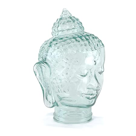 Recycled Spanish Glass Heads, Skulls, and Buddha for Decoration, Hat or Wig Stand, Headphone Stand, and More – Assorted Styles and Colors from Cerebrum Shoppe Buddha – Clear Green