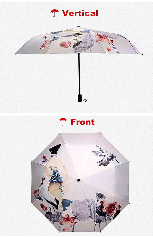 Beige Parapluies Femme Ombrelle Anti UV Protection UV Parapluies pliants Parapluie pour Les Femmes Cr/éatif Imprim/é en 3D Parasol Triple Pliant 190T Parasols 8 Bones Mesdames