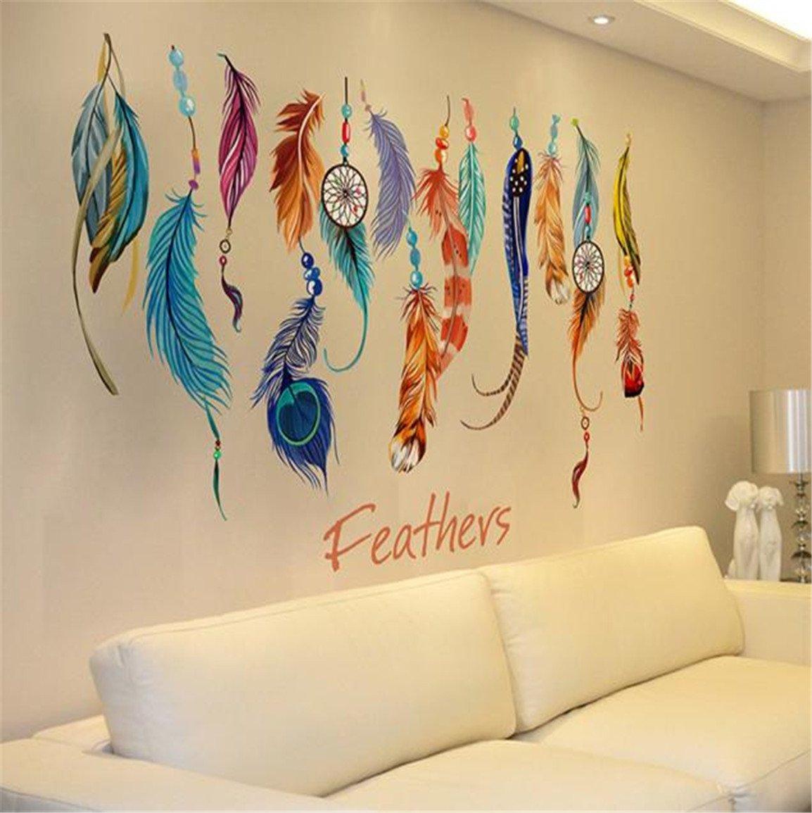 Amazon.com: HN Classic Creative Dream Catcher Feather Wall Sticker ...