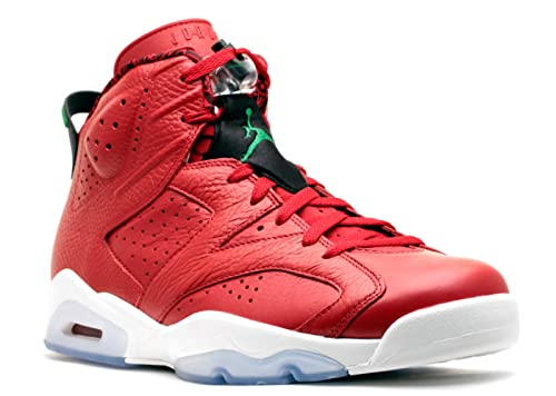 detailed pictures 602be 7268c Nike Mens Air Jordan 6 Retro Spizike History of Spizike Varsity Red/Classic  Green-Wht Leather Basketball Shoes Size 11