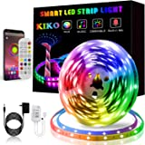 LED Strip Lights, KIKO Smart Color Changing Rope Lights 16.4ft/5M SMD 5050 RGB Light Strips with Bluetooth Controller…