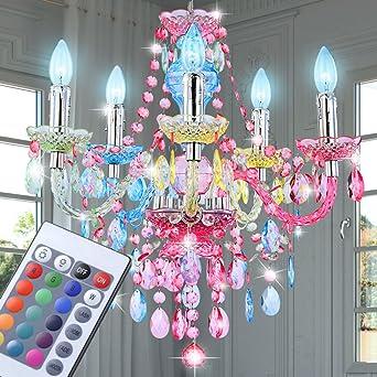 RGB LED Hänge Decken Lampe Wohnraum Kronleuchter Luster Pendel Strahler DIMMBAR