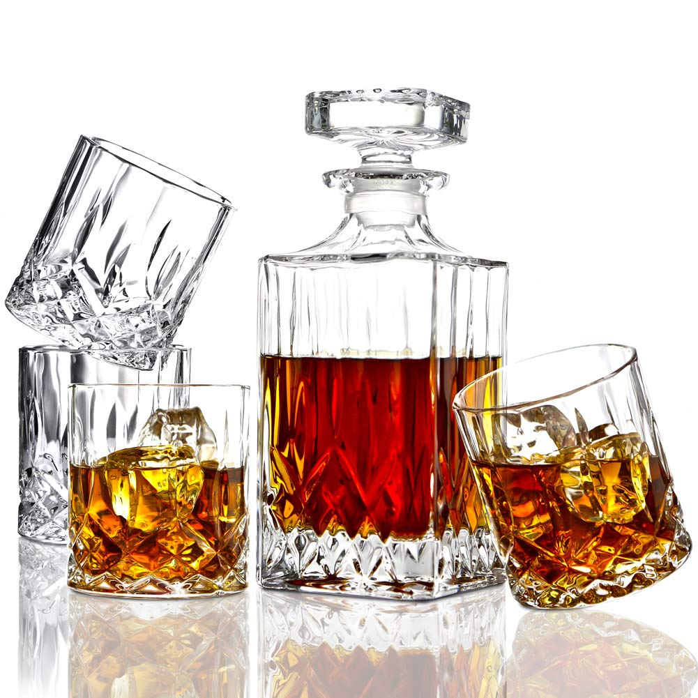 ELIDOMC 5PC Italian Crafted Glass Whiskey Decanter & Whiskey Glasses Set, Crystal Decanter Set With 4 Double Old Fashioned Glasses, 100% Lead Free Whiskey Glassware E-ELIDOMC-01
