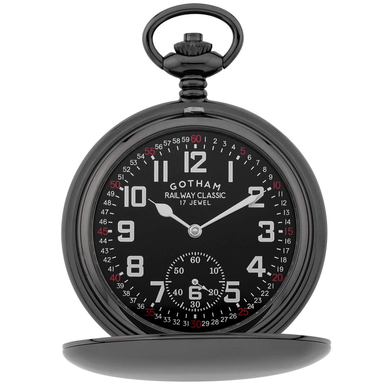 Gotham Men's Gun-Tone Railroad Dial Double Hunter 17 Jewel Mechanical Pocket Watch # GWC18806BBK