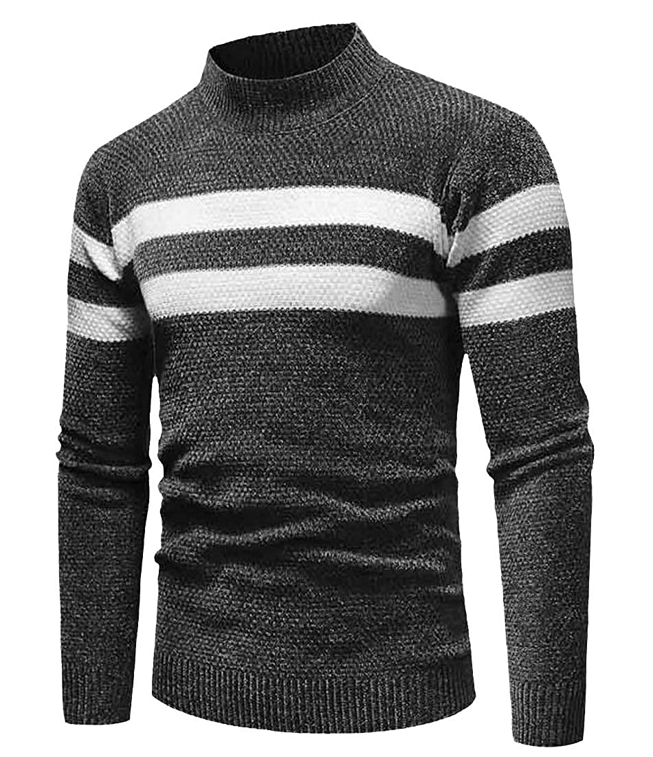 Pivaconis Mens Round Neck Basic Knitted Contrast Slim Fit Long Sleeve Pullover Sweater