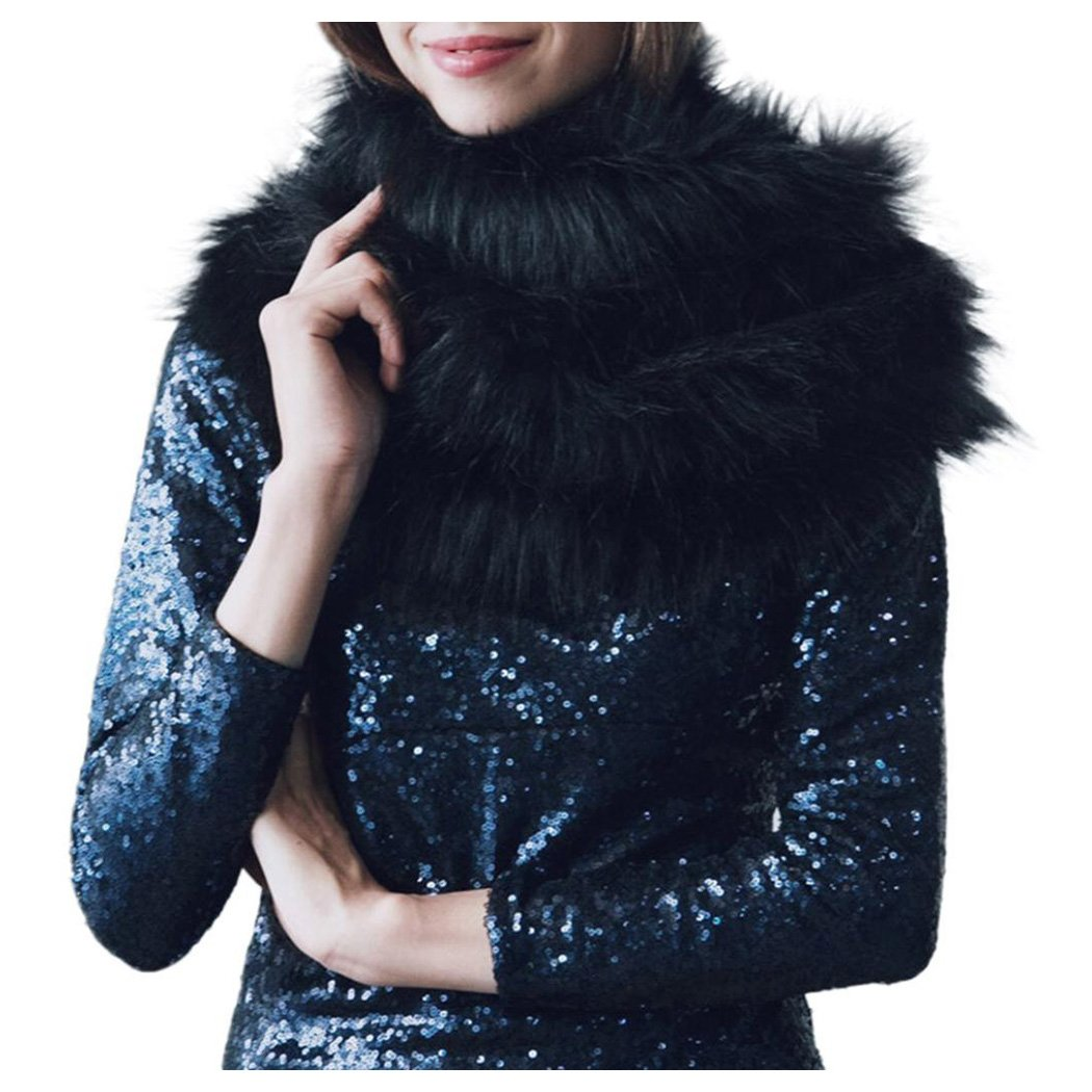 Inkach Women Faux Fur Scarves Shawl Wrap for Winter Coat Ladies Cold Weather Scarf (Black)