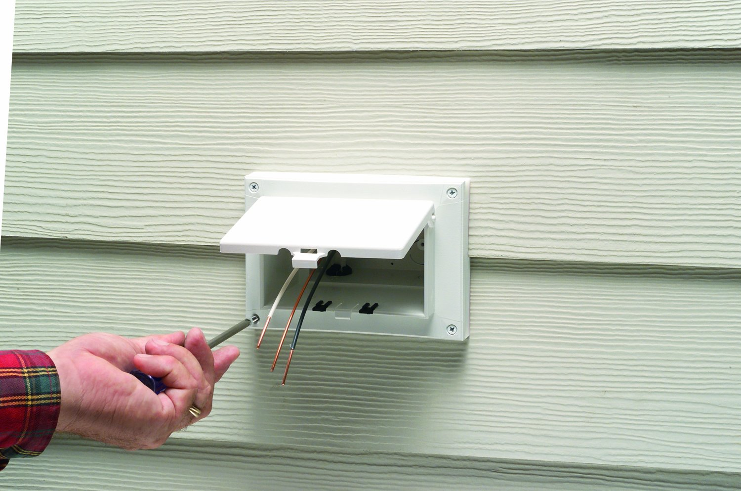 Arlington Dbhr171w 1 Low Profile In Box Electrical With Inwall Wiring Kit Prewired Tv Bridge 1gang Boxes White Weatherproof Cover For Retrofit Siding Construction Dutch Lap Horizontal