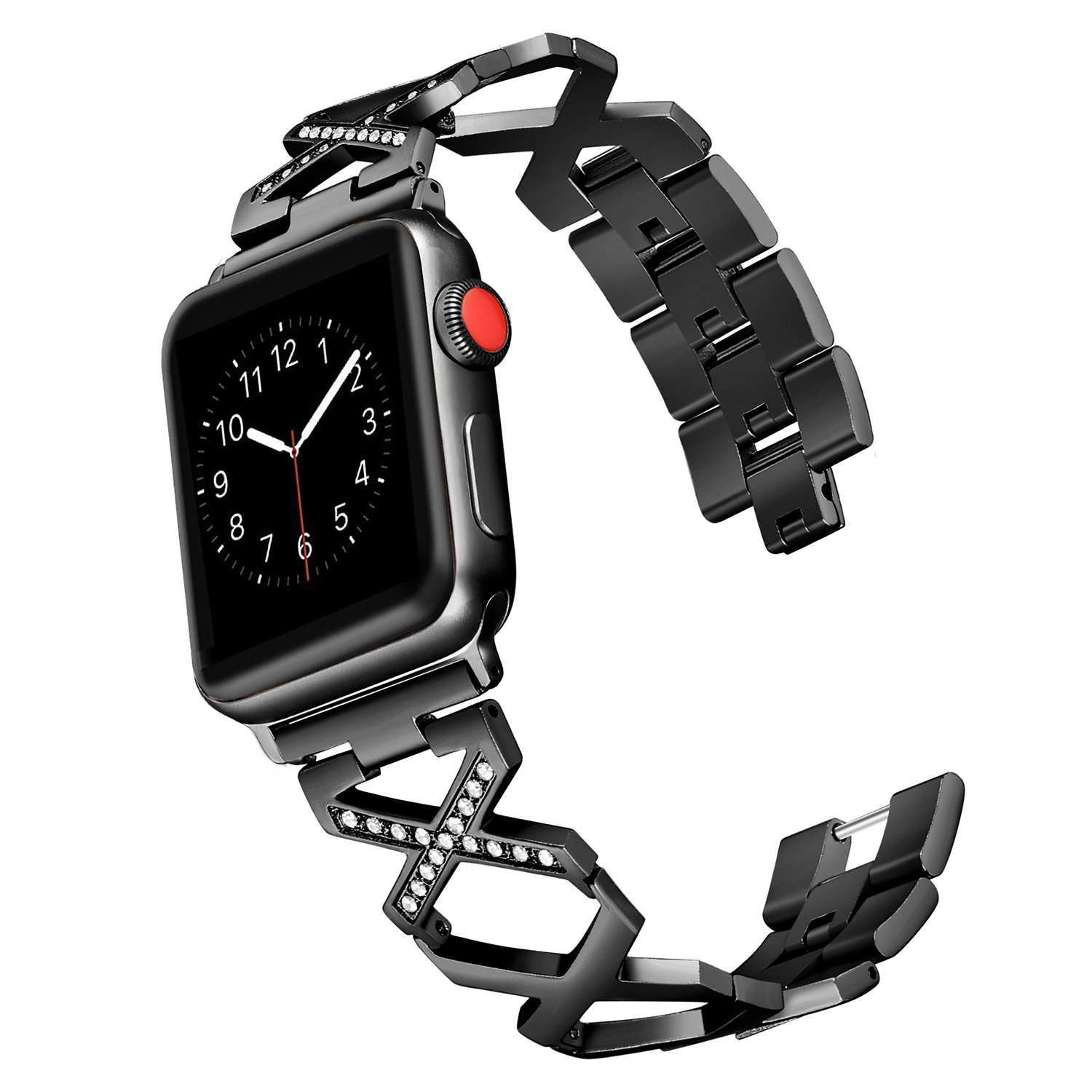 Secbolt 42mm/44mm Bands Compatible Apple Watch Band Series 4 & 5 44mm, Series 3/2/1 42mm, X Pattern Stainless Steel Wristband Sport Strap iWatch, 4 ...