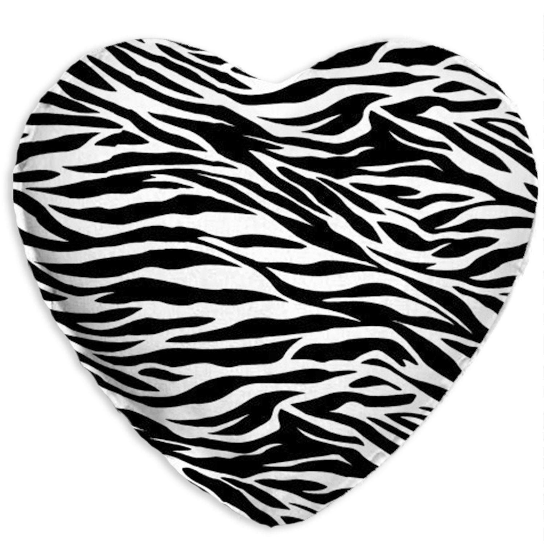 Zebra Print Animals Faux Silk Heart Shaped Sofa Cushion