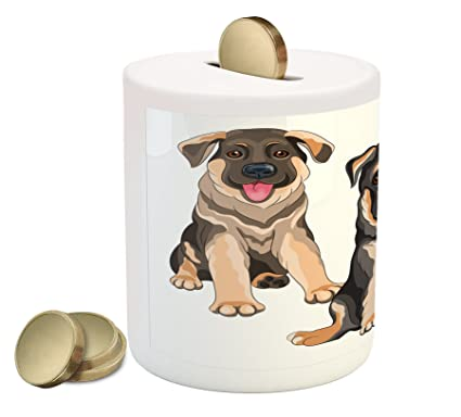 Amazon Com Lunarable German Shepherd Coin Box Bank Smiling Pet