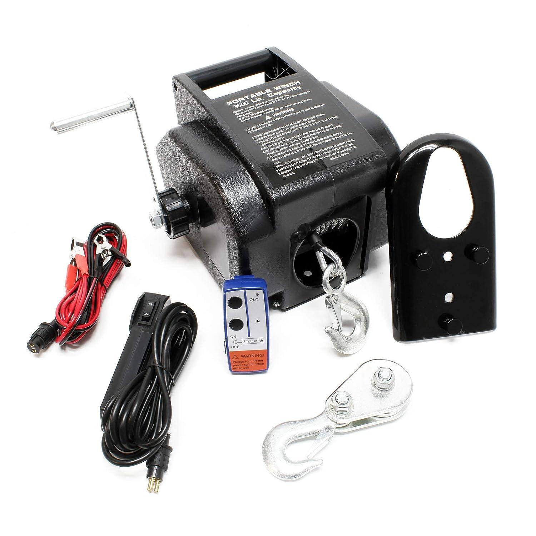 Torno Cable elé ctrico 12V Cabrestante Winche Control Remoto hasta 4990 kg Tracció n Cargas Outdoor WilTec