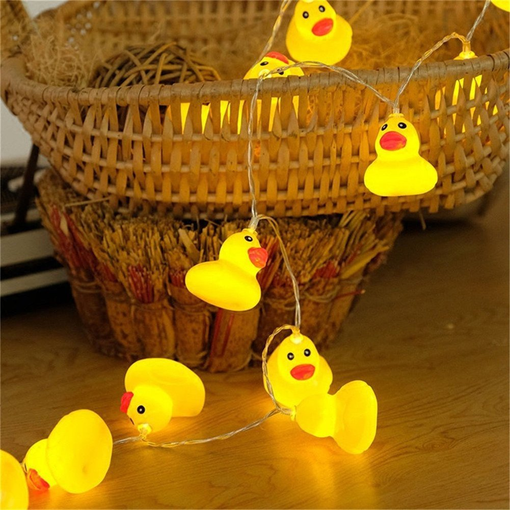 Elufly Indoor Outdoor Cute Animal Ornaments Battery Operated 10 LED String Lights Birthday Party Wedding Christmas Tree Halloween Decorative Lights 1.5m Duck