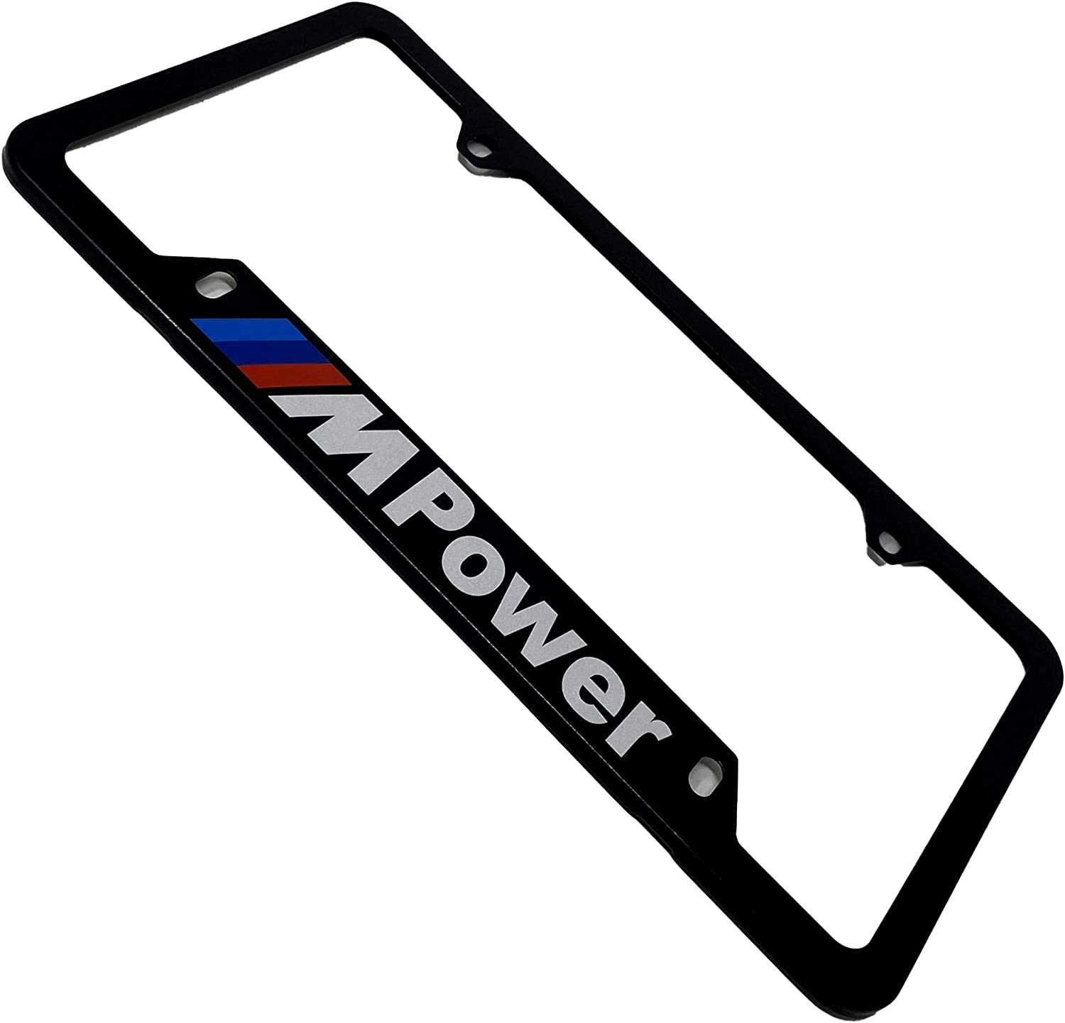Black Pack of 1 License Plate Frame for M POWER Motorsport Performance M2 M3 M4 M5 M6 M7 M8 Series etc Universal Standard US /& Canada Plates with SCREW CAPS 4 Hole 12.2 x 6.3 Aluminium Rust Proof Luxury Weatherproof Cover RENGVO