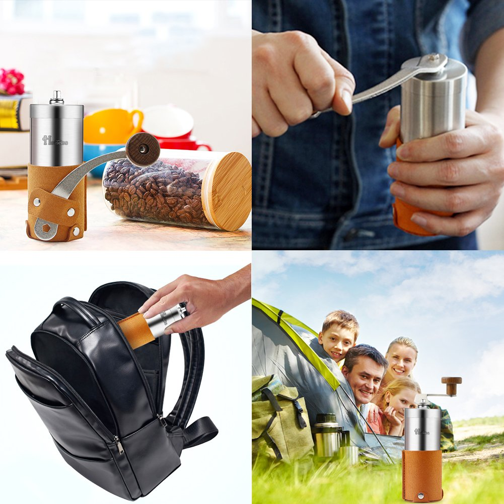 2018 New Portable Manual Coffee Grinder Set Professional Conical Ceramic Burrs Stainless Steel Grinder Easy to Clean for Home Travel Outdoor by RioRand (Image #8)