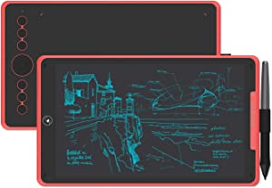 HUION Inspiroy Ink H320M Graphics Drawing Tablet, Dual-Purpose LCD Writing Tablet 8192 Pen Pressure Battery-Free Stylus Tilt Function Android Supported with Sleeve Bag (Coral Red)