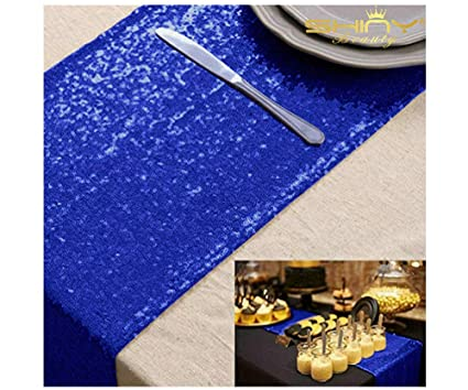 shinybeauty blue bridal shower decorations 14x108 inch royal blue table runner wedding table runners