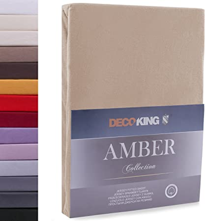 DecoKing 180x200-200x200 cm Sábana Bajera Ajustable 100% Algodón Jersey Capuchino Amber Collection: Amazon.es: Hogar