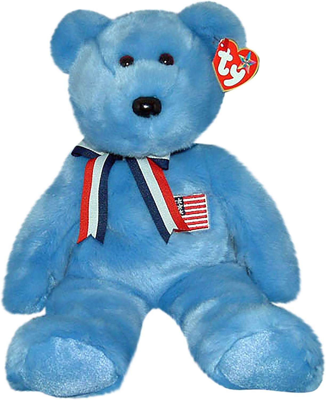 Ty Large Plush Beanie Buddy America the Blue Bear