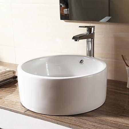 SUNCOO Bathroom Cloakroom White Round Ceramic Countertop Wash Basin Sink  Washing Bowl