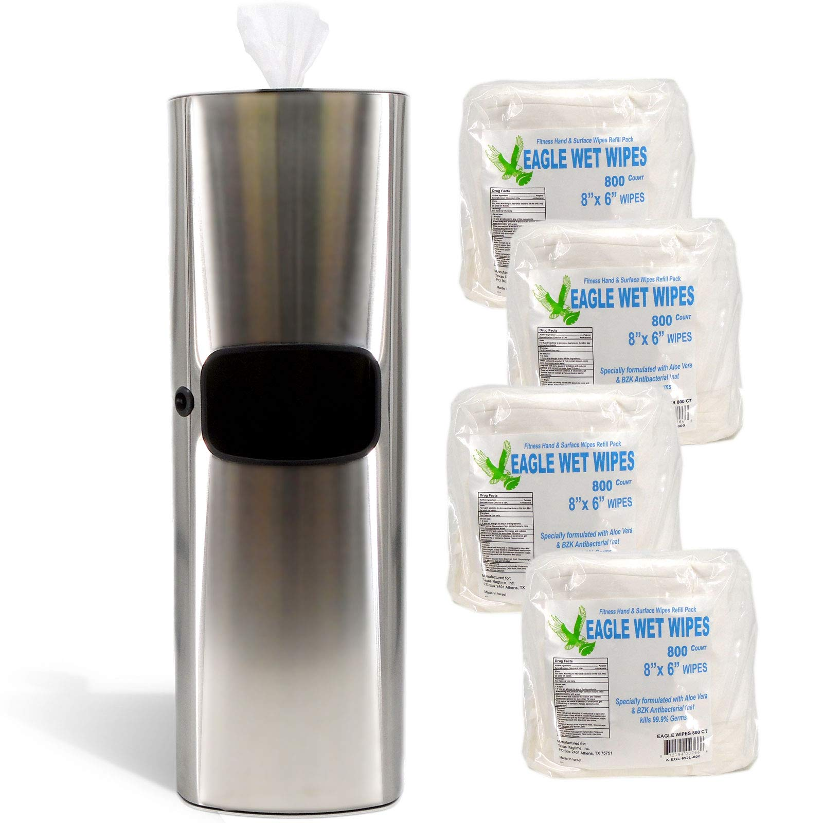 TEXAS RAGTIME Eagle Wipes New Sanitizing Wipes Dispenser and Trash Can Set for Gyms, Offices, Hospitals, Schools, Restrooms Bundle Eagle Wet Wipes Antibacterial Gym Wipes 4 Rolls 3200 Sheets 800/roll