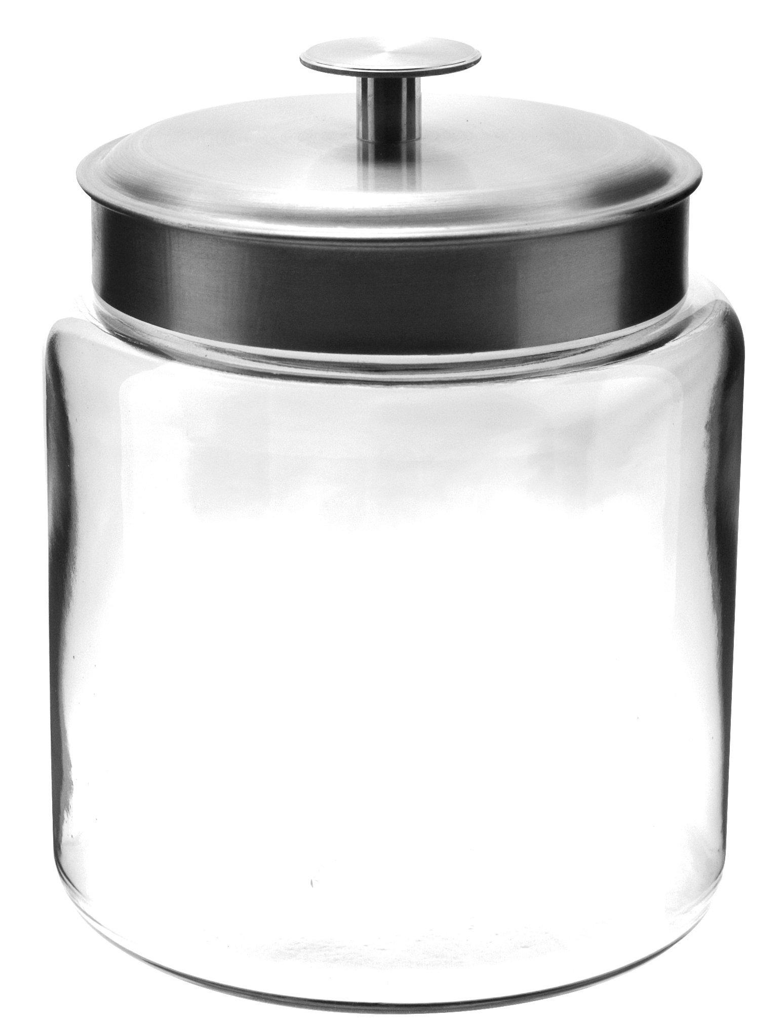 Anchor Hocking Montana Glass Jars with Fresh Sealed Lids, Brushed Metal, 96 oz (Set of 2)