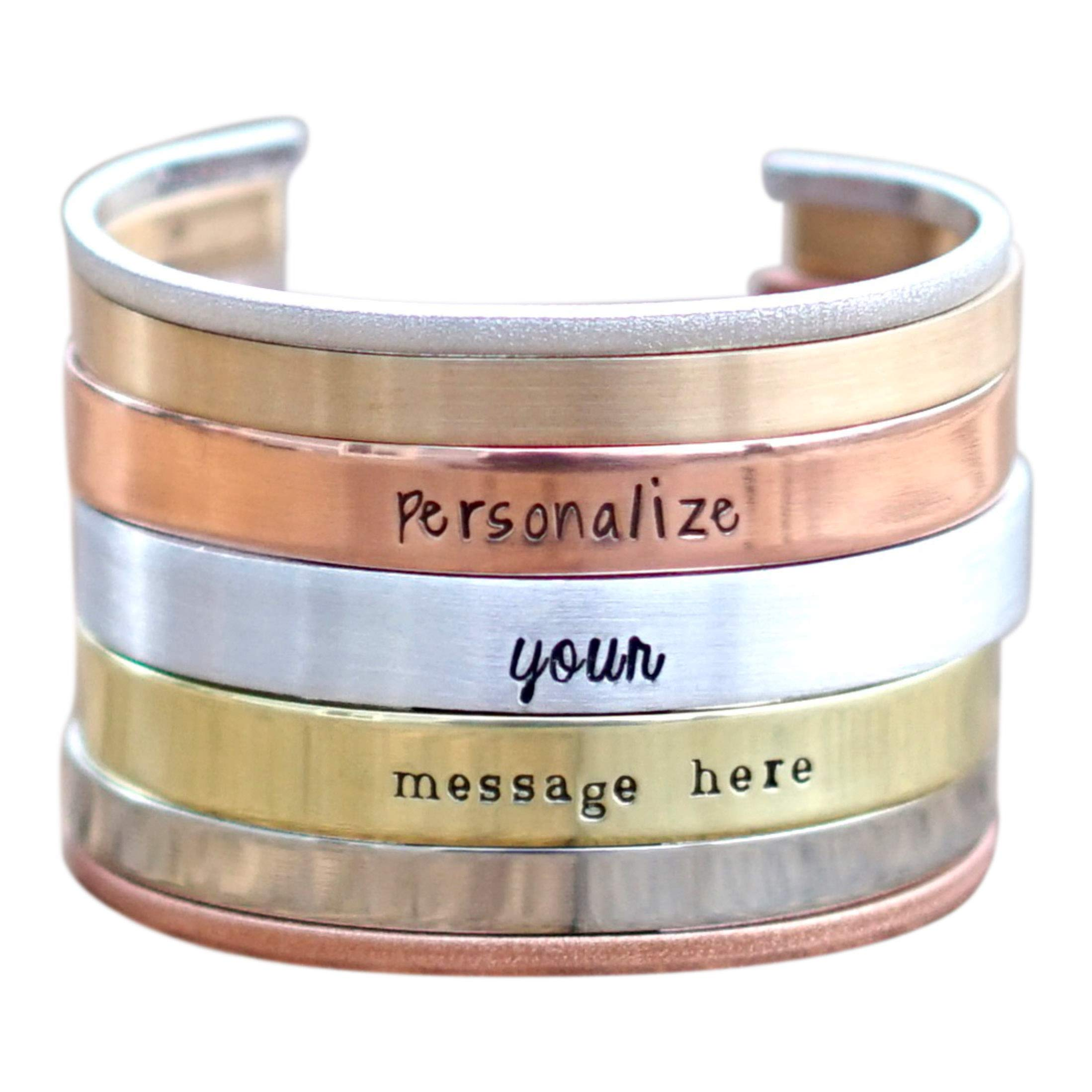 IF - Personalized Cuff Bracelet in Silver, Bronze, Nickel, Gold, or Copper, 5-8'' Long by IF Only Pretty