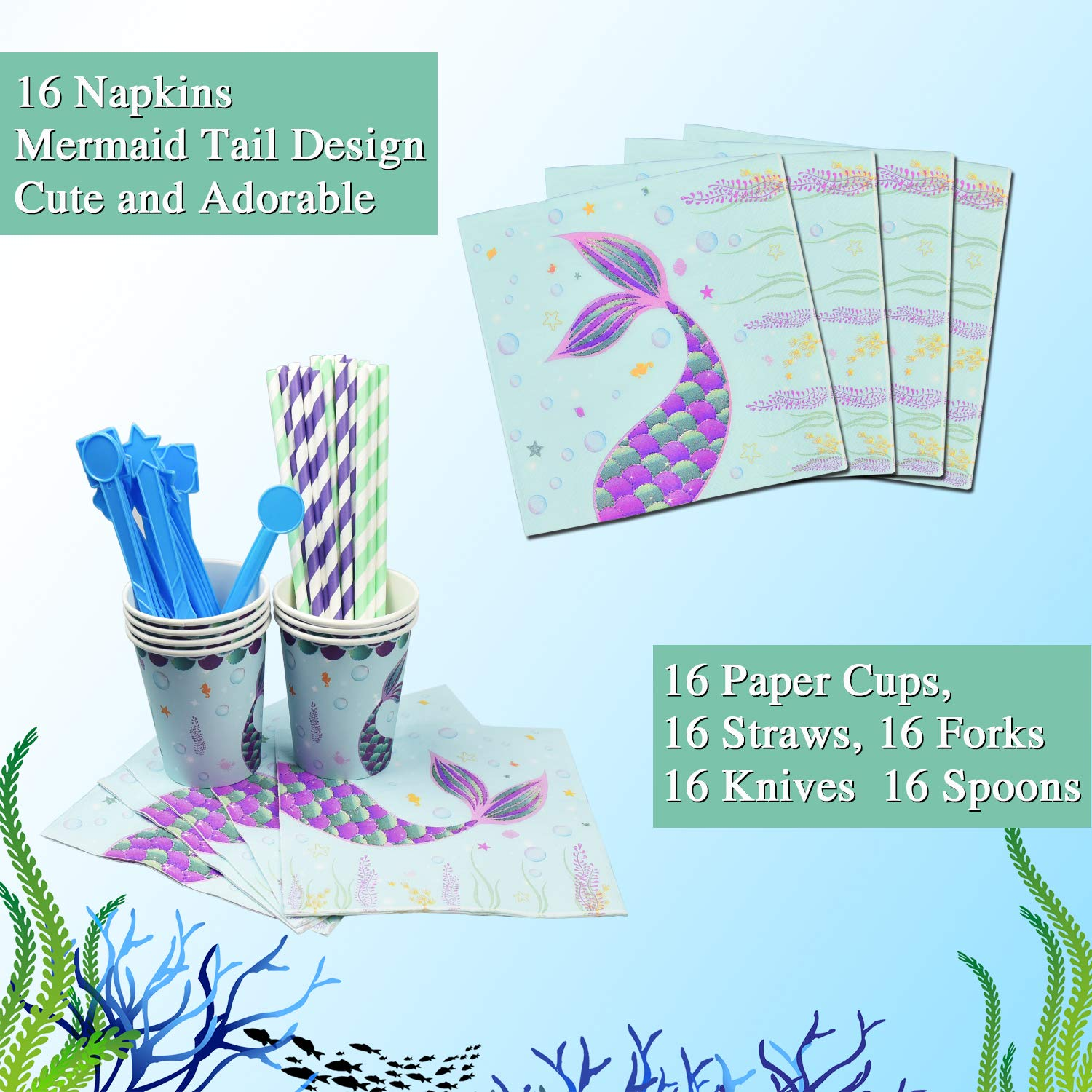 WERNNSAI Pool Mermaid Party Supplies Kit - Party Favors Girls Birthday Party Decoration Cutlery Bag Table Cover Plates Cups Napkins Straws Utensils Birthday Banner & Balloons Serves 16 Guests 169 PCS by WERNNSAI (Image #4)