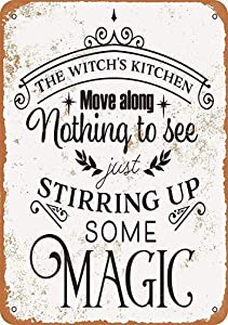 MUNDERA 8 X 12 Metal Sign - The Witch's Kitchen Retro Tin Signs Distressed Look Vintage Wall Decor Art