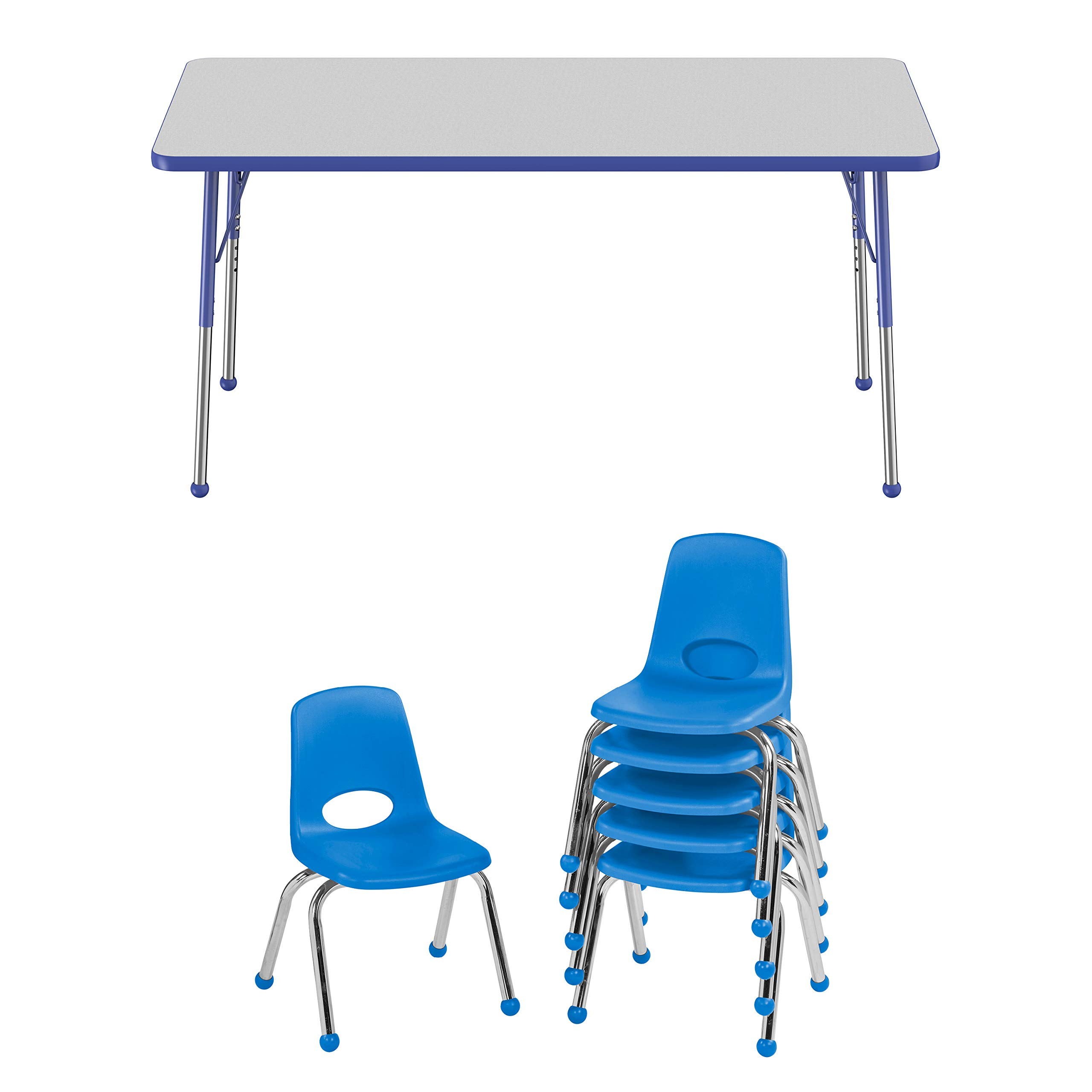 FDP Rectangle Activity School and Office Table (30 x 60 inch), Gray Top and Blue Edge, Standard Legs with Ball Glides and Six 12 inch Blue School Stack Chairs by Factory Direct Partners
