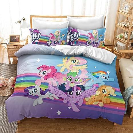 Amazon Com Wellbridal My Little Pony Bedding Set King Kids Girls Cartoon Cute Duvet Cover Sets 1 Duvet Cover 2 Pillowcases Home Kitchen