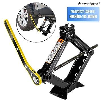 Forever Speed 2T Elevador Tijera Gato de tijera Elevador Elevador Tijera Manivela (Negro): Amazon.es: Coche y moto