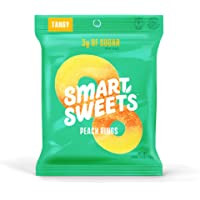 SmartSweets Peach Rings 1.8 Oz Bags (Box Of 6), Candy With Low-Sugar (3g) & Low Calorie (80)- Free of Sugar Alcohols & No Artificial Sweeteners, Sweetened With Stevia