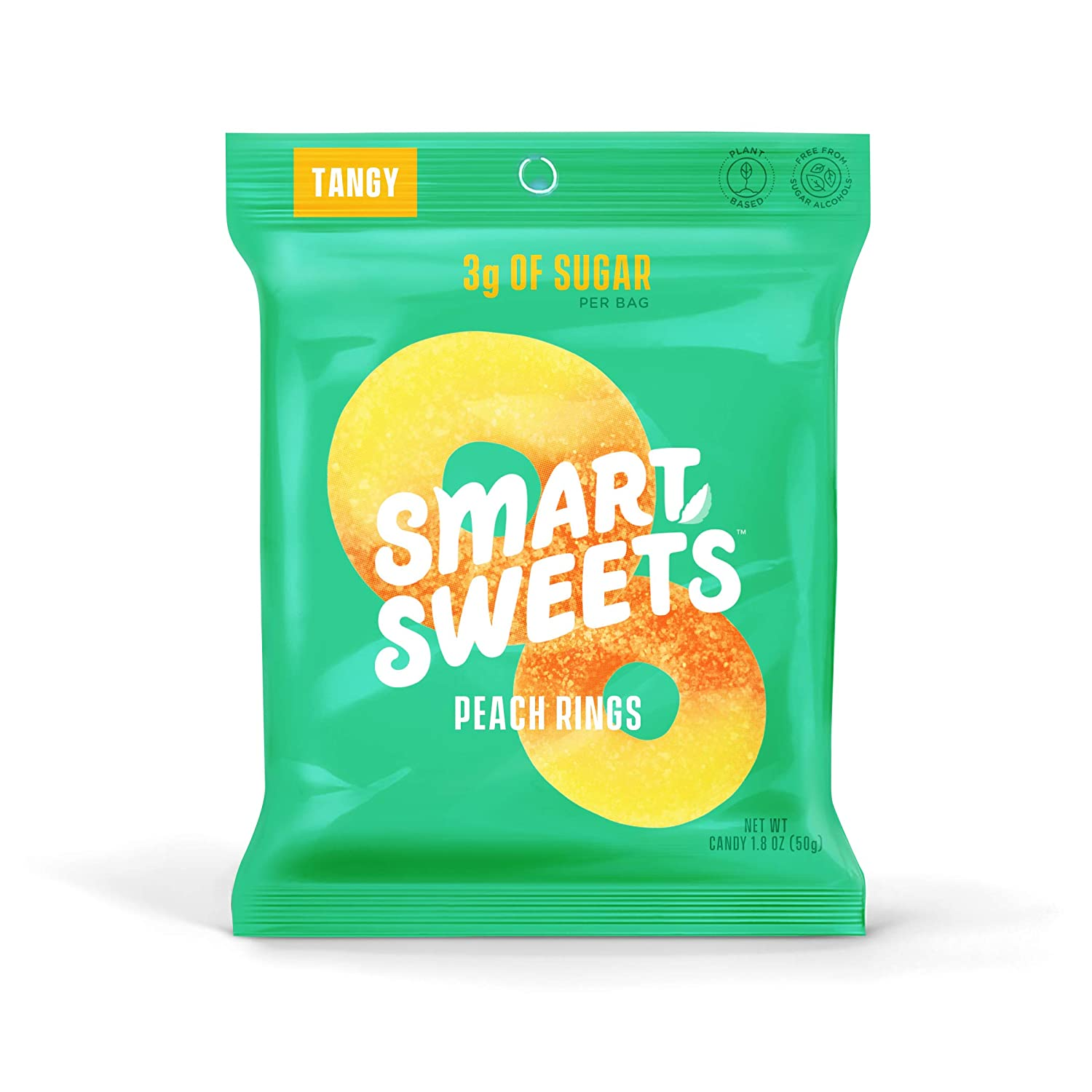 SmartSweets Peach Rings 1.8 Oz Bags (Box Of 12), Candy With Low Sugar (3g) & Low Calorie (80)- Free of Sugar Alcohols & No Artificial Sweeteners, Sweetened With Stevia