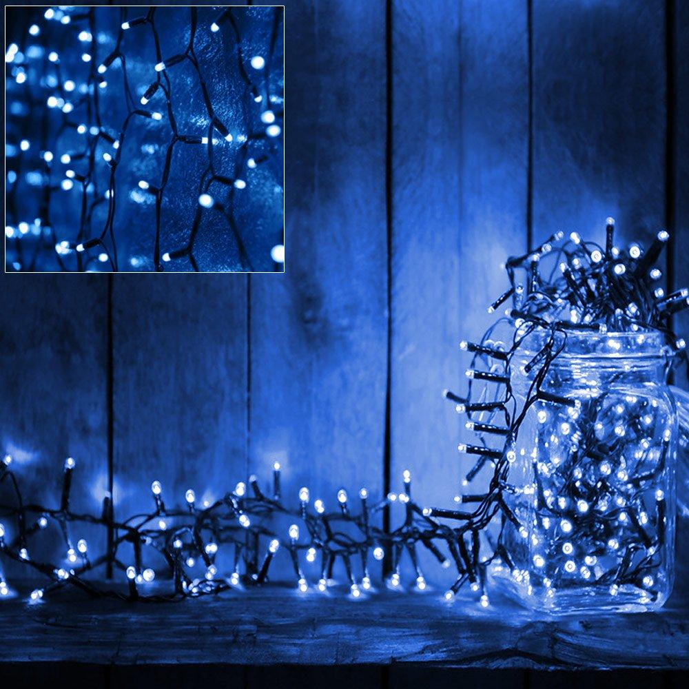 Deuba 100 LED Lichterkette 7m I Blau I Batterie & Timer I für Innen ...