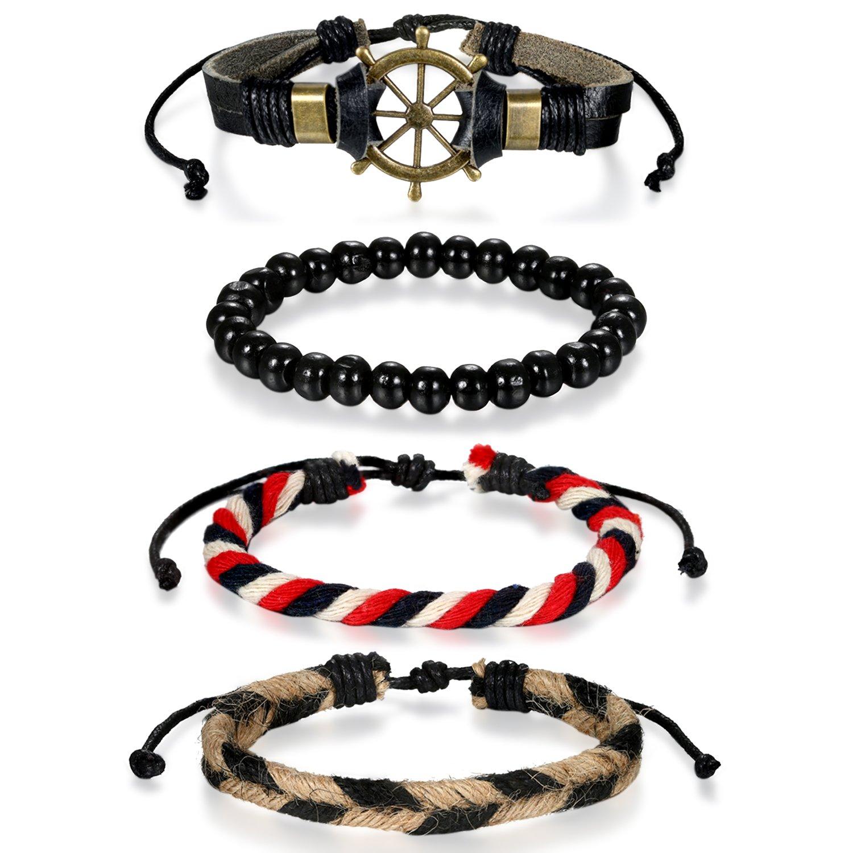 Flongo Pulsera brazalete de hombre mujer, Pulsera de cuero trenzada tribal etnica brazalete, Conjunto de pulseras juego de brazaletes, Ajustable pulsera original de regalo F056001