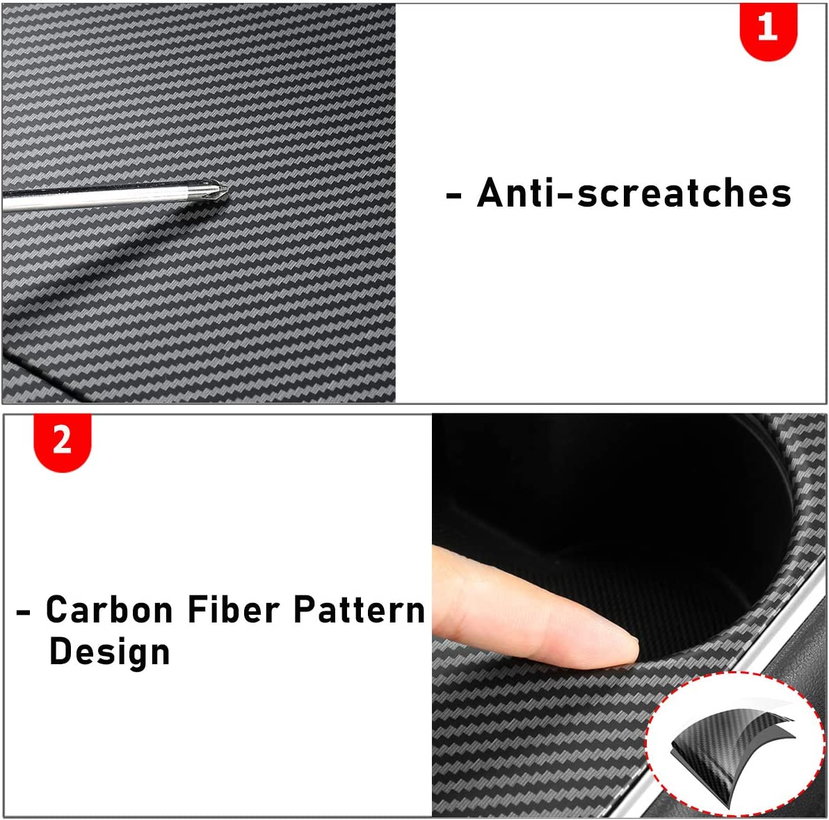 Carbon Fiber Pattern Jaronx for Tesla Model Y and Model 3 Center Console Wrap,Carbon Fiber Pattern Wrap Kit Center Console Protector Cover Stickers for Tesla Model 3// Model Y Wrap Accessories